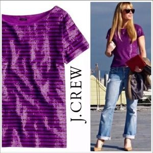 J. CREW Purple Sequin Sailor Striped Tee Medium